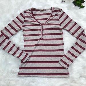 Pink Rose knit 3 snap pullover top shirt women's m